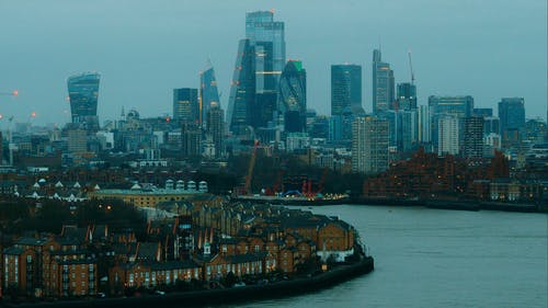 High Angle Video Of London City Buildings On Thames Riverbanks