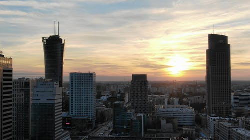 Drone Footage Of High-Rise Building Taken At Sunset