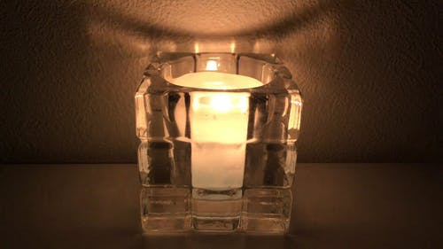 Candle Light On Glass Candle Holder