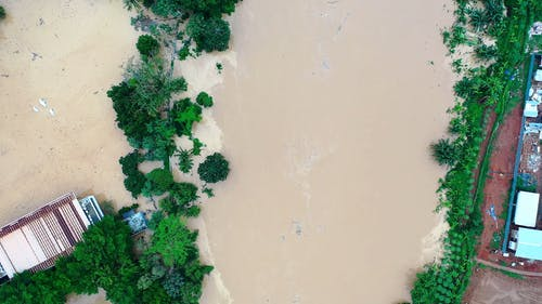 Drone Footage Of An Overflowing River Causing Flood