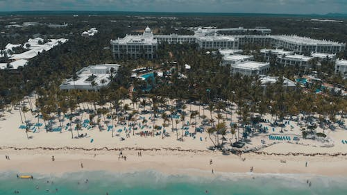 Drone Footage Of A Beachfront Hotel And Resort