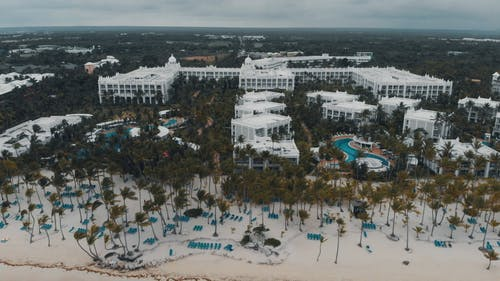 Drone Footage Of A Beach Front Hotel And Resort