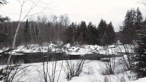 河流流淌在白雪覆盖的森林