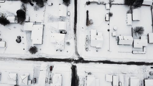 A Residential Community  Covered With Snow