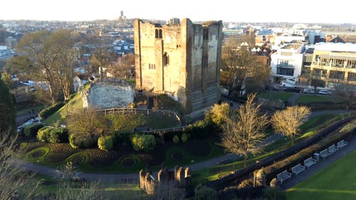 Aerial Footage Of Guildford Castle In London