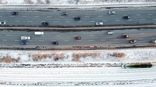 Aerial Footage Of Vehicles Traveling On The Road