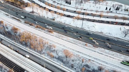 Aerial View Of Vehicles Traveling On The Road