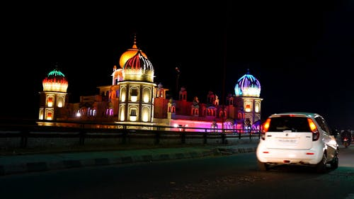 View Of A Mosque With Colorful Lights