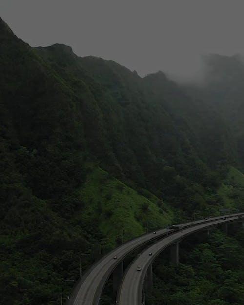 Une Route Surélevée Dans La Vallée De La Montagne à Hawaii