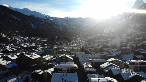 Drone Footage Of A Mountain Town Famous For Skiing Resorts