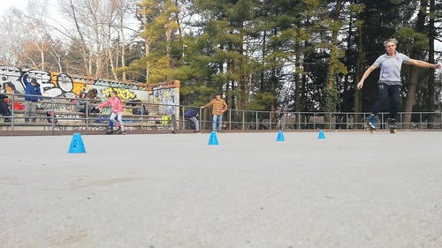 Footage Of A Man Using Roller Skates