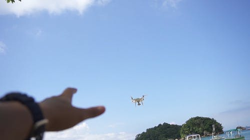 Catching A Flying Drone Machine By Hand