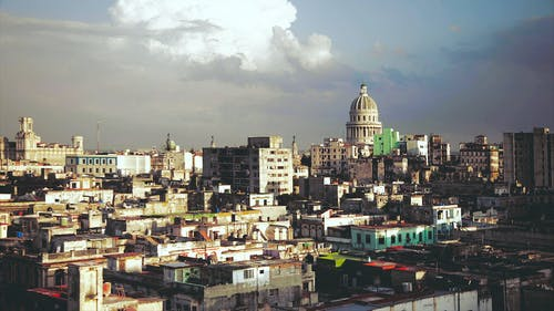 Drone Shot Of The Cityline Of Havana Cuba's