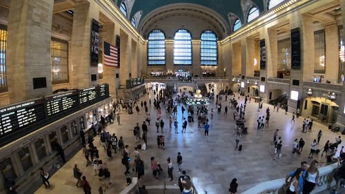Aerial Footage Inside The Grand Central Station In Timelapse