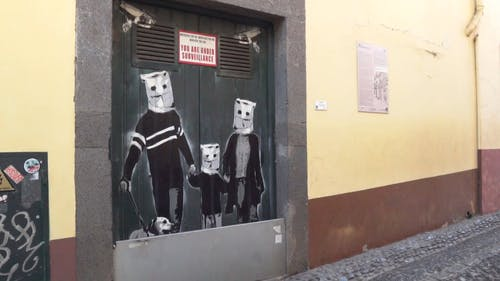 Illusion Painting On The Door Of A Building With Notice
