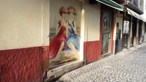 Street art Painting On An Abandoned Building In Madeira Prougal