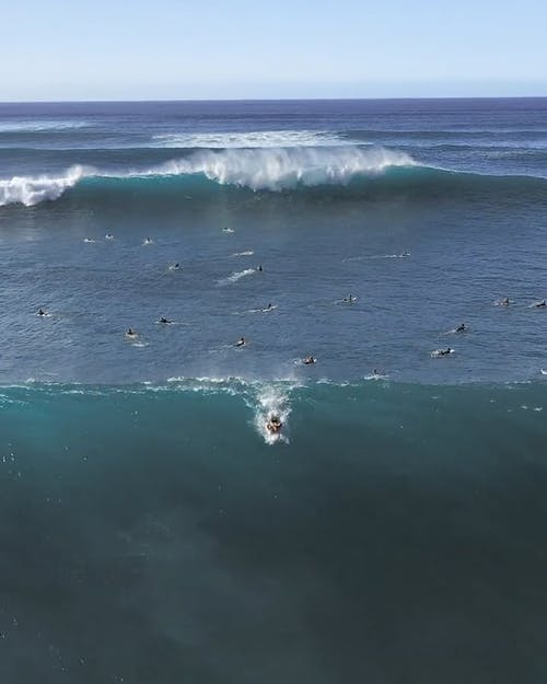 Aerial Footage Of A Man Surfing