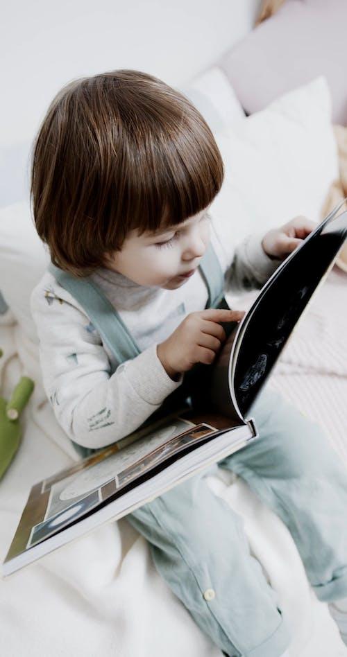 Ein Kind Betrachtet Gedruckte Bilder In Einem Buch