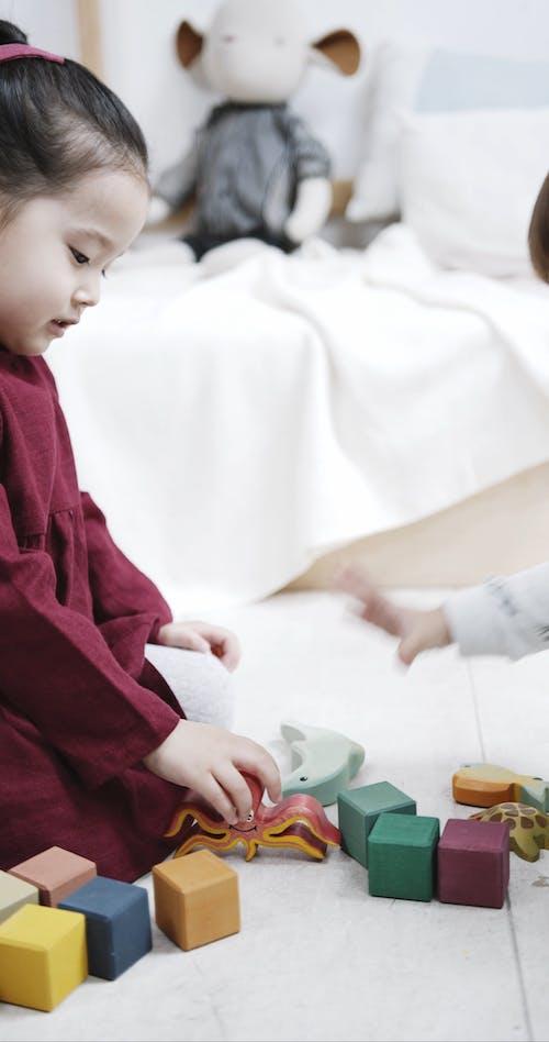 Kinderen Zijn Bezig Met Het Spelen Van Speelgoed Op De Vloer