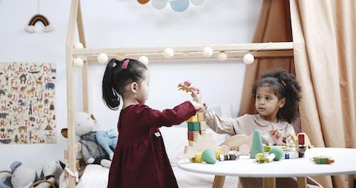 Twee Kinderen Die Houten Speelgoed Met Elkaar Delen