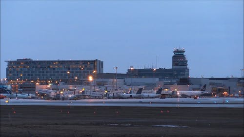 View Of Montreal Airport At Dusk