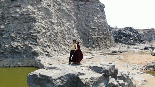 A Couple Having Their Prenup Photo Shoots In A Quarry Site