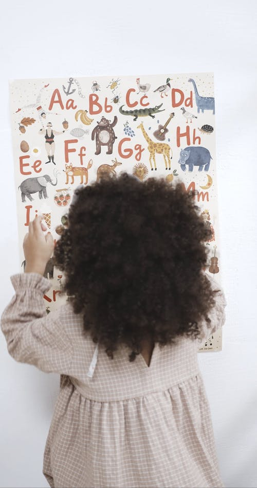A Young Kid Identifying Animals On The alphabet Table
