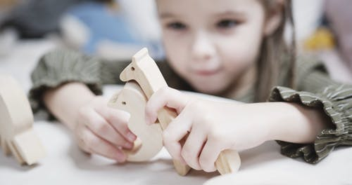 A Girl Playing With Wooden Toy Animals