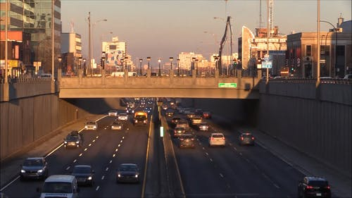 Traffic On Montreal Highway In The Morning
