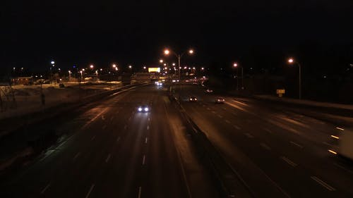 High Angle Footage Of Vehicle Without Traffic In Time Lapse
