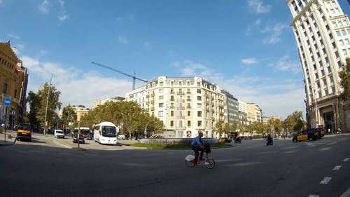 A Water Fountain On A Roundabout Road In Catalonia Barcelona, Spain