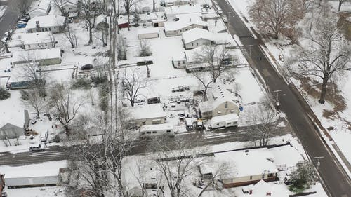 Drone Footage Of Snow Covered Houses