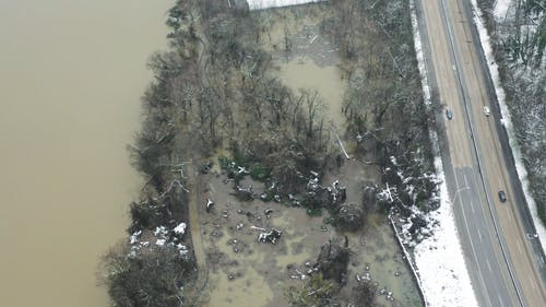 Drone Footage Of The Road Along The River Side