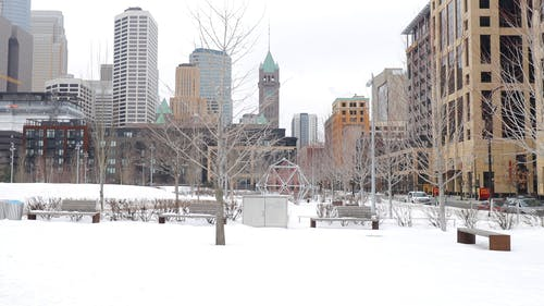 Minneapolis Park Covered In Snow