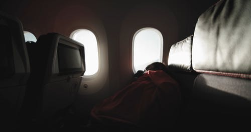 Footage Of A Person Sleeping In The Airplane