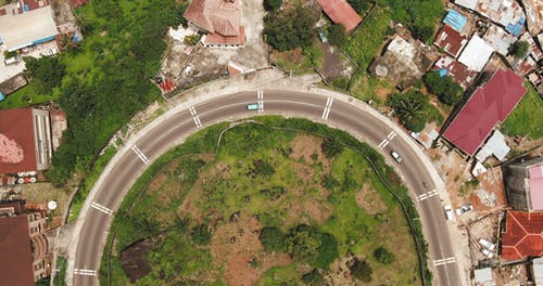 Top View Footage Of A Curved Road