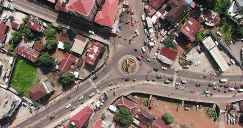 Top View Footage Of The City With Heavy Traffic