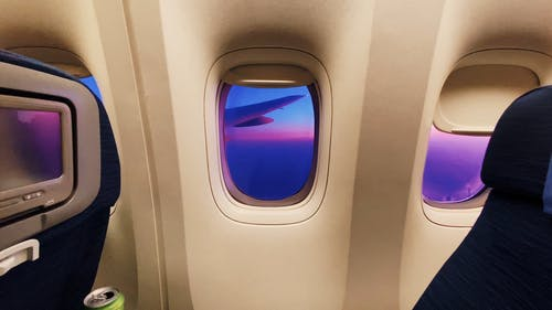 View Of Sunset From An Airplane In Flight