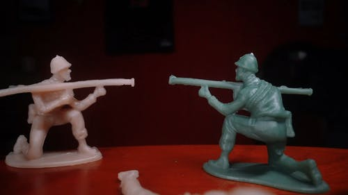 Plastic Toy Soldiers In Combat