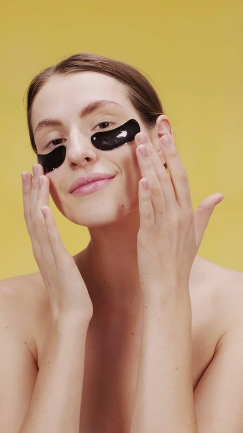 Footage Of A Woman Removing The Under Eye Mask