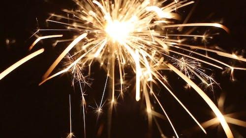 Lights From A Burning Stick Firework Sparklers