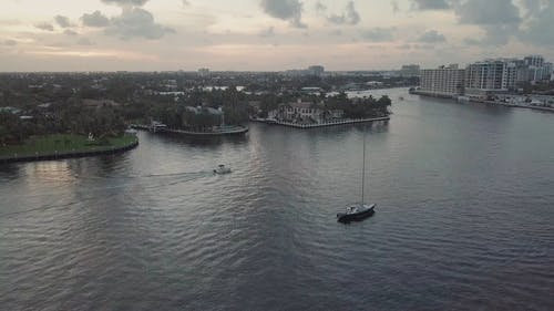 High Angle Footage Of The Sea With Boats