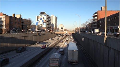 Traffic Flow On Highway At DayTime