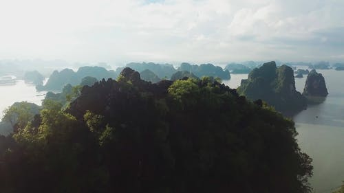 Drone Footage Of The Island And The Sea