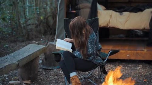 Footage Of A Woman Reading In The Forest