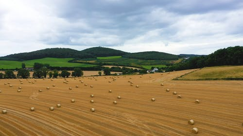 Drone Footage of Hay Bales on a Field in Ireland