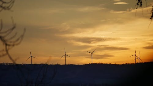 View Of Wind Turbines At Sunset