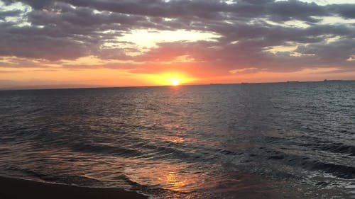 Footage Of Sunset And The Sea Waves