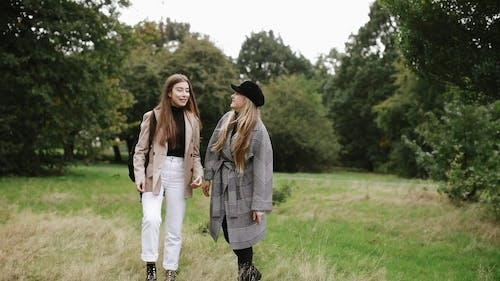 Zwei Frauen, Die Ein Glückliches Gespräch Beim Gehen Haben