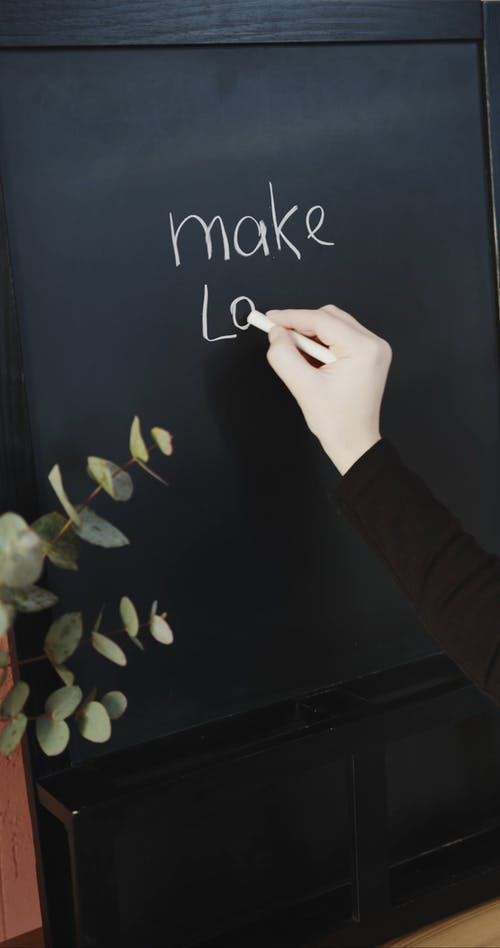 Writing A Message In A Blackboard Using A Chalk